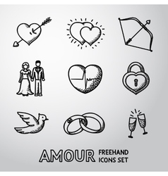 Set of handdrawn love amour icons - heart with vector