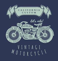 Vintage hand draw motorcycle t-shirt design vector