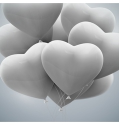 Flying bunch of balloon hearts vector