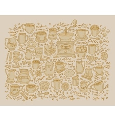 Art sketching set of coffee and tea vector