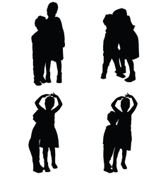 Children in various pose silhouette vector