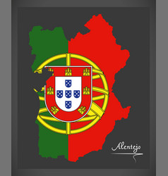 Alentejo portugal map with portuguese national vector