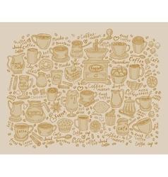 Art sketching set of coffee and tea vector