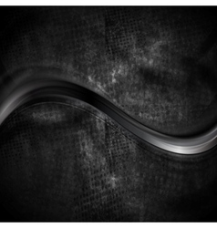 Black smooth wave on dark grunge background vector image