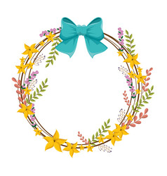 Circular border with yellow flowers and blue vector