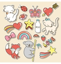 Cute stickers collections isolated with white vector image vector image