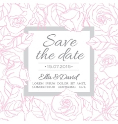Delicate wedding invitation card template vector