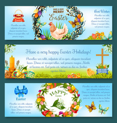 easter eggs spring holidays banner template design vector image vector image