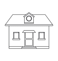 Front view home round window loft outline vector