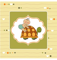 funny baby boy announcement card vector image vector image