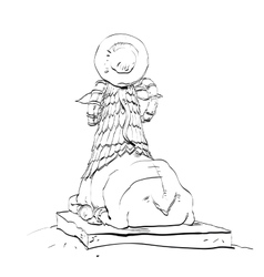 Golden sheep statue animal fairy vector image vector image