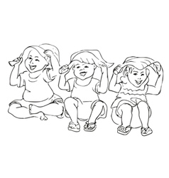 Happy kid cartoon doodle vector image vector image