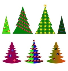 image seven Christmas trees with beautiful vector image vector image
