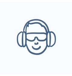 Man in headphones sketch icon vector image