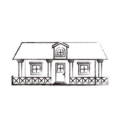 monochrome blurred silhouette of country house vector image vector image