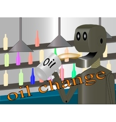 Robot produces oil change vector