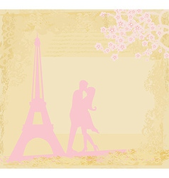 Romantic couple silhouette in Paris kissing near vector image