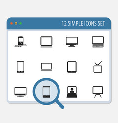set of 12 editable instrument icons includes vector image vector image
