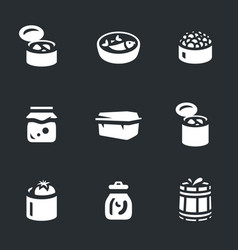 Set of canned food icons vector