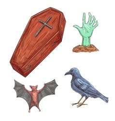 Set of halloween decoration elements vector