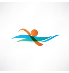 sportsmen swimming icon vector image vector image