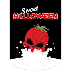 Strawberry skull falls in milk splashes of white vector