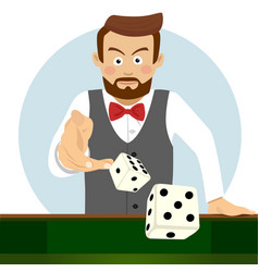 young man throwing the dice gambling concept vector image