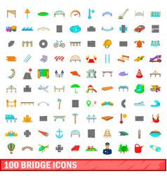 100 bridge icons set cartoon style vector