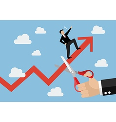 Big hand cutting growing graph of businessman vector image