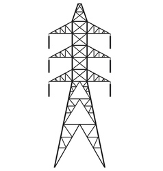 Silhouette of Power line and electric pylon vector image