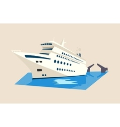 Yacht or liner ship on water with moveable bridge vector