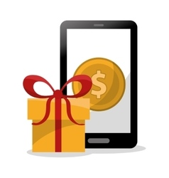 Gift coin smartphone and shopping design vector