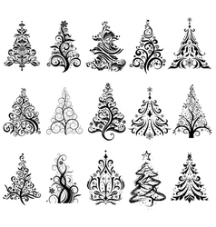 Set of Luxury Christmas Trees vector image