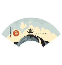 Landscape with pagoda vector