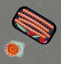 Grilled sausages and glass of beer vector