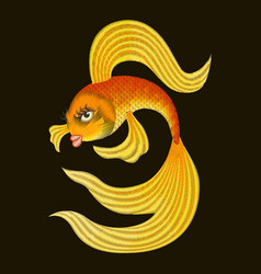 Embroidery gold fish from a fairy tale vector