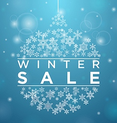 Winter sale in form of a ball of snowflakes vector
