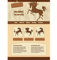 Horse theme for web site template vector