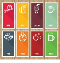 Flat banners with cafe icons vector