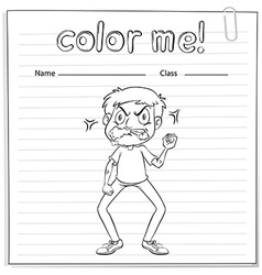 Coloring worksheet with a man vector
