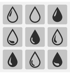 Drop black icons vector