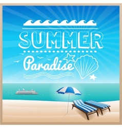 Summer beach typography design background vector