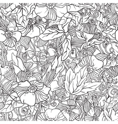 Seamless pattern with doodle flowers vector