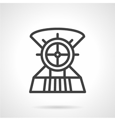 Boat steering wheel line icon vector