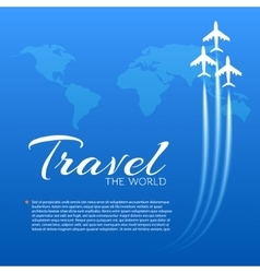 Blue background with white airplanes vector
