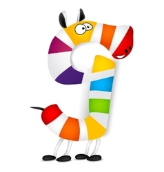 Number nine made of colorful animal cartoon vector