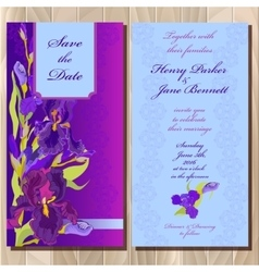 Wedding invitation card with purple iris flower vector
