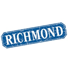Richmond blue square grunge retro style sign vector