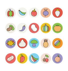 Fruits and Vegetables Icons 3 vector image