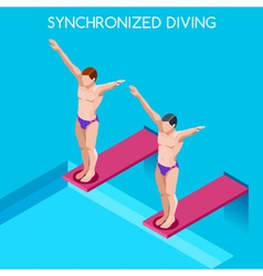 Synchronized diving 2016 summer games 3d vector
